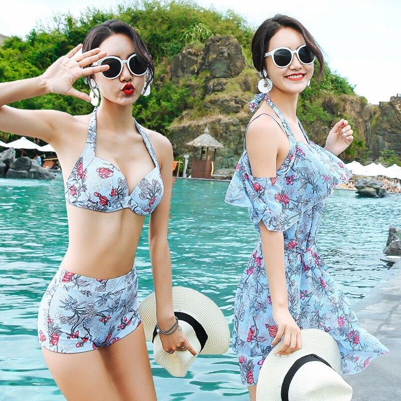 Sexy À Volants jupe dissimulations 2018 nouvelles femmes Push Up bikini maillots de bain taille haute trois pièce maillot de bain femme Imprimé maillots de bain