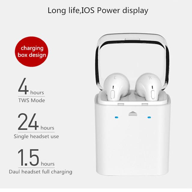 Écouteurs bluetooth 4.2 imitation EarPods avec boitier de charge
