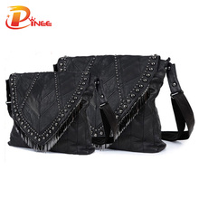 All-match Genuine Leather Women Handbags Designer Tassel Female Shoulder Bags Rivet Bag