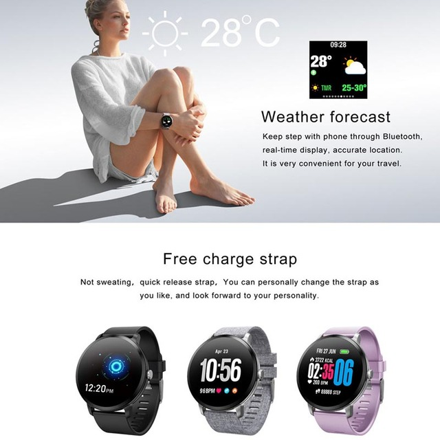Greentiger V11 Smart Watch Tempered glass Activity Fitness tracker sport smartwatch IP67 Waterproof Heart rate monitor Men Women