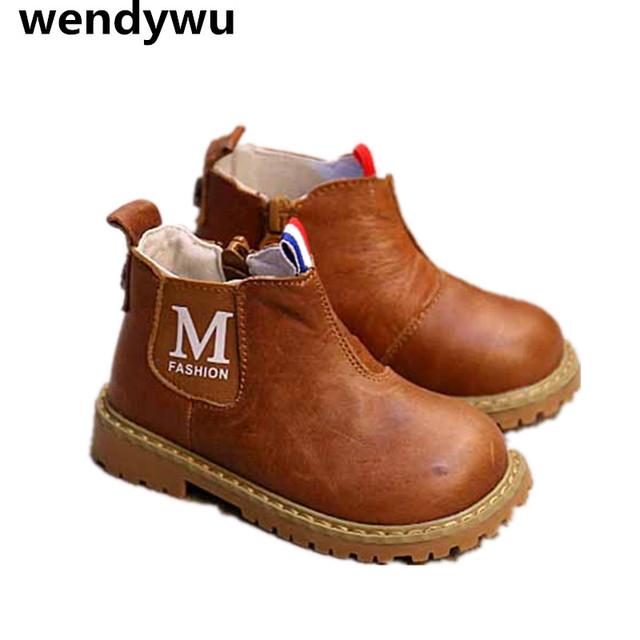 2107 muchachos del otoño de la marca caliente marrón botas para niños de cuero genuino shoes baby girls fashion ankle boots niños botas negras