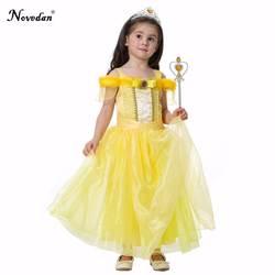 Наряжаться в костюм принцессы Белль для девочек детское желтое праздничное платье без рукавов Детский праздничный костюм для девочек на