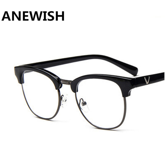 2d4fb71d12 Anewish Metal Half-Frame Eyewear Women Men Optical Vintage Retro Eyeglasses  Frame Myopia Brand Design Glassses
