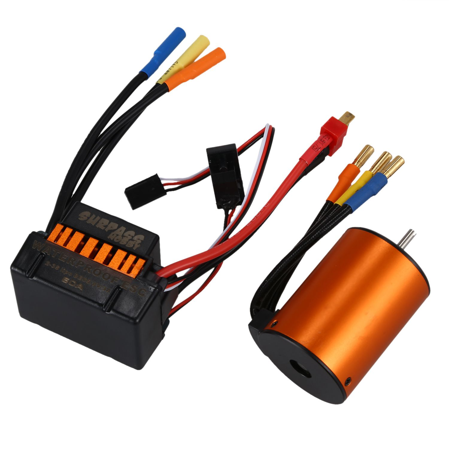 SURPASS HOBBY Upgrade Waterproof 3650 4300KV Brushless Motor with 60A ESC for 1/10 RC Car