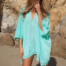 Women Lace Beach Cover Up V-neck Bikini Blouses Swimsuit Covers up Beachwear 2018 Bathing Summer Loose Sexy Tops Shirts New
