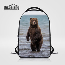 Dispalang 3D Bear Printing School Bags For Children Animal Laptop Backpack For College Students Men Business