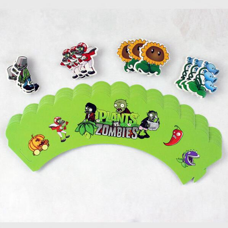 120pcs Cartoon Plants VS Zombies Cupcake Wrapper Topper Pick Game Wars Popular kids baby Birthday Wedding Party Cake Decoration