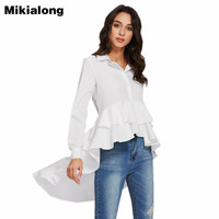 Mikialong New Spring Autumn Ruffle Blouse Women Vintage Long Sleeve White Shirt Female High Low Irregular