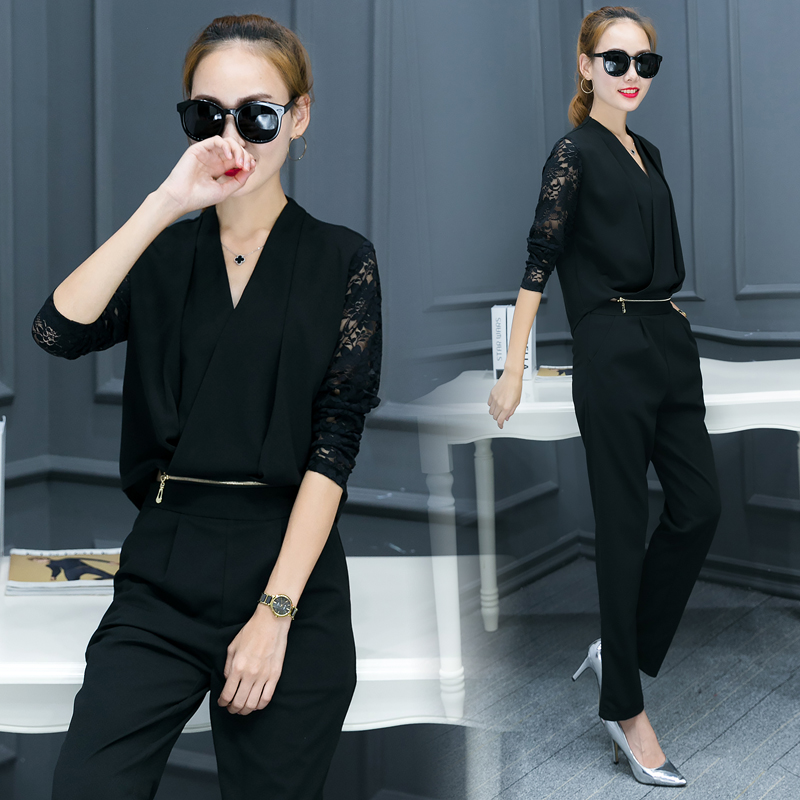 Fashionable Women V Neck Shirt Pants Suit New 2016 Autumn Korean - Women's Clothing - Photo 4