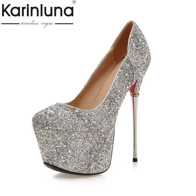 KarinLuna Big Size 32-43 Spring Summer Party Woman Shoes Women Sexy 16cm Thin High Heels Bling Upper Bride Pumps Shoes big size 32 44 ankle strap patch color super hoof high heels platform shoes woman spring summer pumps party dress shoes sexy