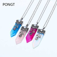Hot Sale Natural Crystal Sword Pendant Necklace Natural Fluorite Opal Amethyst Pendant Female Charm Quartz Crystal