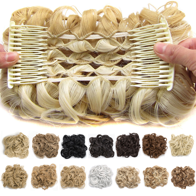 S-noilite 2 Plastic Comb Hair Clip In Chignon Wedding Curly Synthetic Hair Extension Chignon Hairpiece Hair Bun Hair Accessories