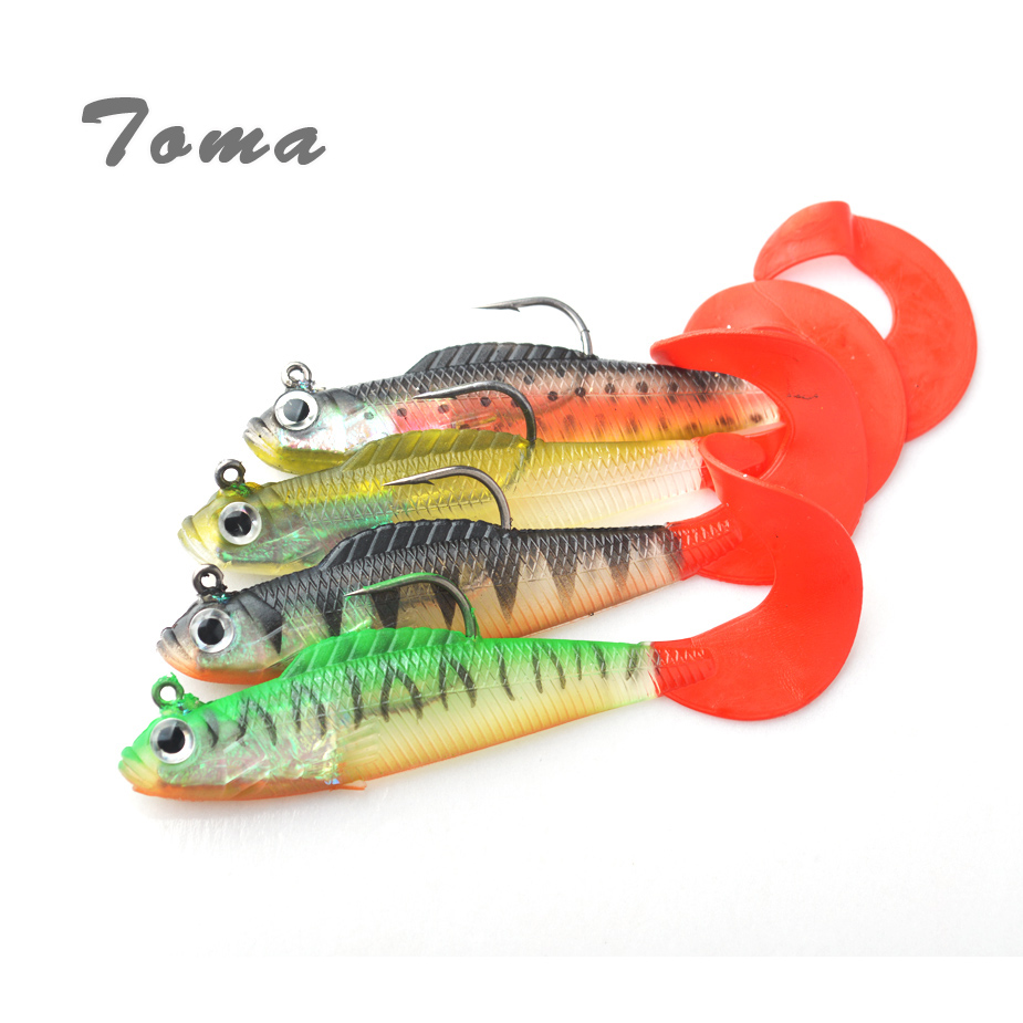 TOMA 4PCS Soft Lead Fish Jig Fishing Lures 11cm 17g Red Volume Tail Color Mixed Wobblers Artificial Bait Sea Bass lure Fishing