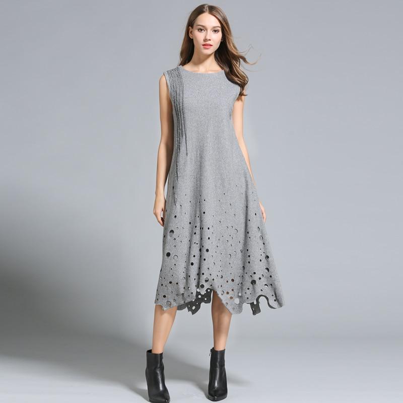 Herbst Winterkleider Frauen Ärmellos Aushöhlen Long Loose Style - Damenbekleidung