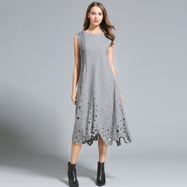 Autumn winter dresses women Sleeveless Hollow out Long Loose style woolen  Dresses plus sizes Solid 2 fa1606af7996