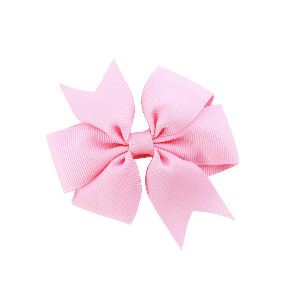 3 zoll Großhandel Neu Ripsband Solide Schmetterling Bogen Haarnadeln Haar Clips für Kinder Kinder Mädchen Neugeborenen Haar Zubehör