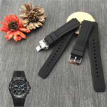 Rubber Watchband for Casio Watch Edifice EF-552D-1A Strap Sports Bracelet Man Silicone Bracelet 17mm Butterfly Buckle EF-552(China)