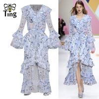 Tingfly New Season Runway Designer Lace Up V neck Ruffles Maxi Dress Party Night Dresses Luxury Style Floral Tassel Long Vestido