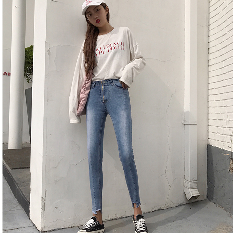 2019 The New Korean Version Of The Korean Homage Irregular Feet, High Waist Nine Points, Jeans, Small Pants, Women's Wear