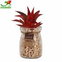 Greatflower rosso aloe Piccolo rotondo di Vetro Artificiale Piante Succulente Fioriere Assortiti Faux con Rocce