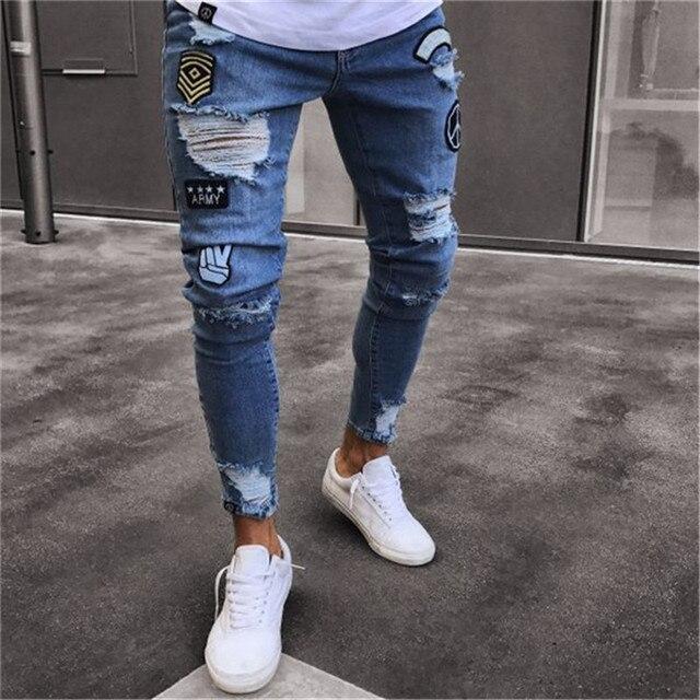 2019 hombres elegante vaqueros pantalones de vaqueros rectos de corte Slim  Hip Hop deshilachados Denim Pantalones c6be432bfed
