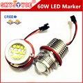 2X60 W Led marcador angel eyes para E39 E61 E63 E64 E87 E83 E53 Car Styling Acessórios DRL xenon branco H8 marcador marcador de escolha diodo emissor de luz