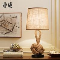 Винтаж Таблица свет де меса лампы Винтаж mesaLamps веревки настольные лампы светодиодный Спальня лампы