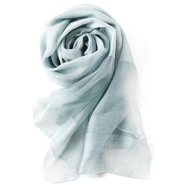 Модный Шелковый Шарф 190*80 см Femal Чистый Цвет Шарф Люксовый Бренд Пляж Платок Дышащий 30% Шелк Пашмины Хиджаб W6022