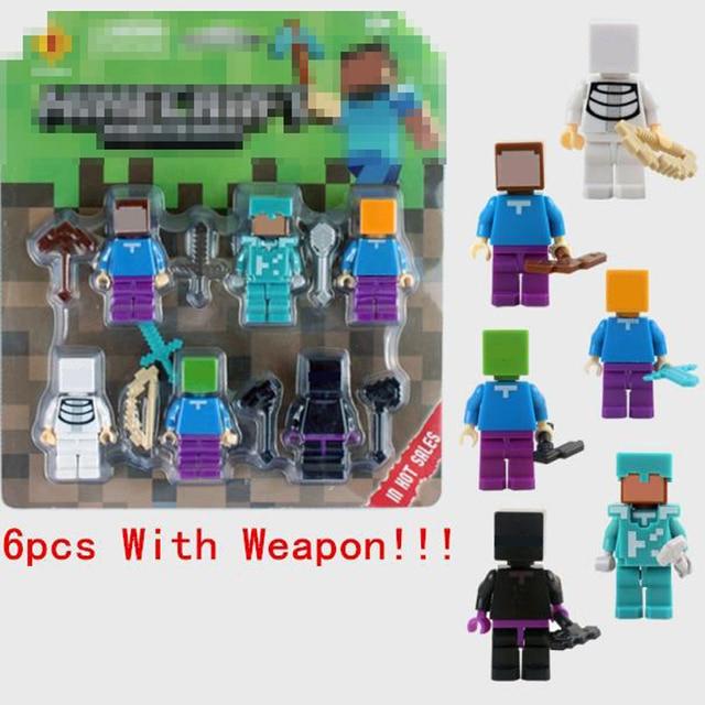 6pcs set minecraft figures toy minecraft blocks with weapon hanger action figure 3d model classic