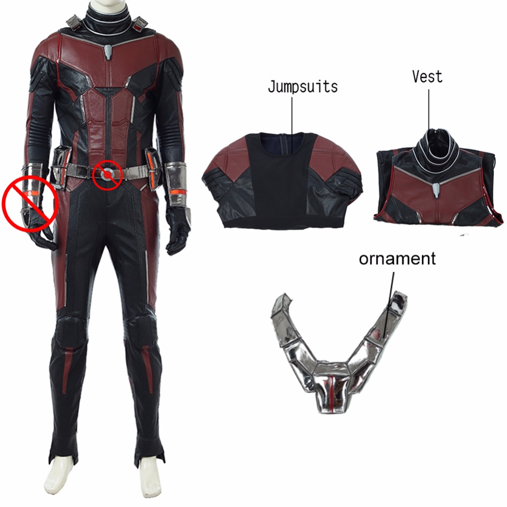 Ant Man 2 Cosplay Costume Wine Red Mirror Leather Jumpsuit Ant man And The Wasp Cosplay