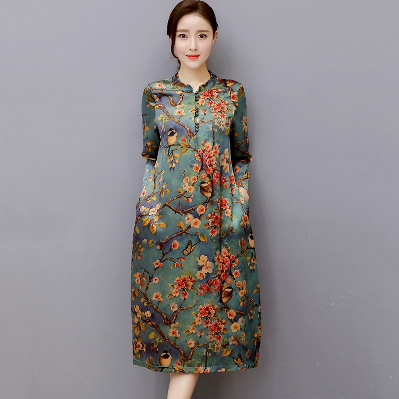 Womens Dresses Mulberry Silk Plus Size Vestidos De Playa O Neck Vintage Dresses Women Summer Dress