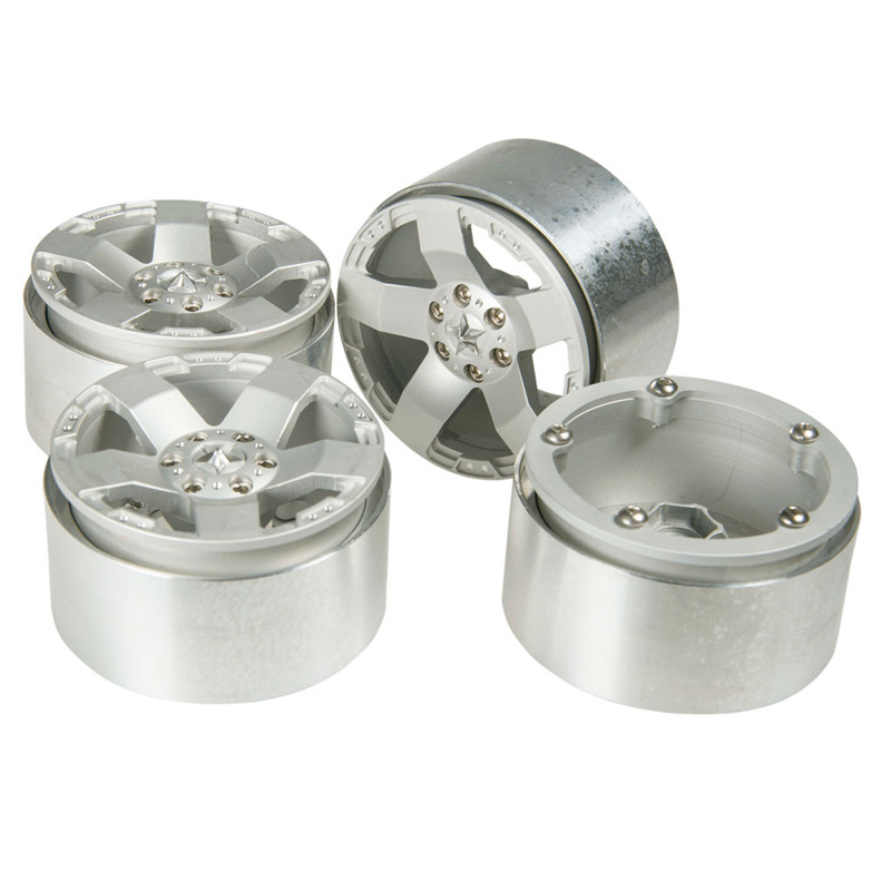 4pcs/Set 2.2 Inch Silver RC 1:10 Crawler Alloy Wheels Rim Beadlock Wheel Rims Hub for 1/10 RC SCX10 Wraith 90018 Rock Crawler 4pcs 1 9 alloy 1 10 rc crawler wheel rim 1 9 inch wheel rims hub rc car accessories for 1 10 rc d90 scx10 cc01 d110 rock crawler