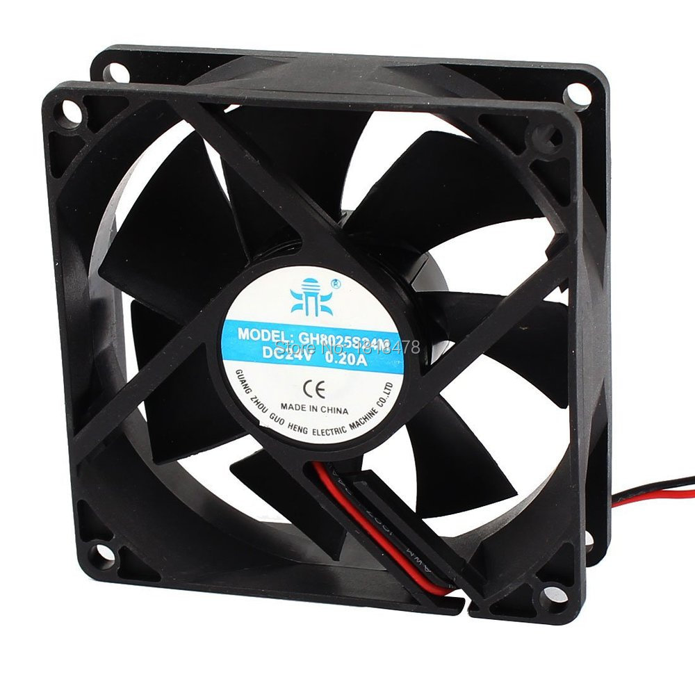 GH8025 DC Cooling Fan 7 Blades 80mm X 80mm X 25mm 8025 2 Wires DC 24V 0.2A