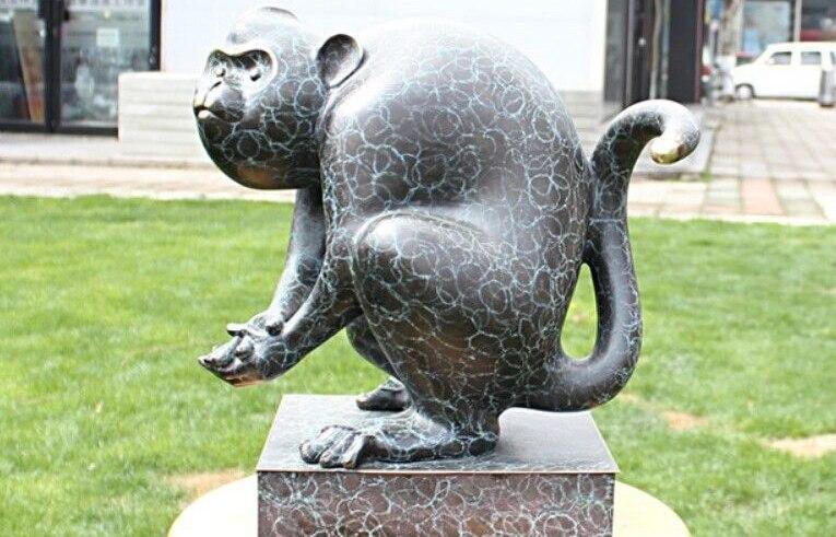 Art décoration Sculpture Bronze chinois cuivre de bon augure zodiaque singe Statue