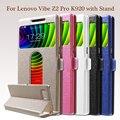 Para lenovo k 920 cuero teléfono bolsa de textura de seda de doble ventanas shell case para lenovo vibe z2 pro k920 con el soporte