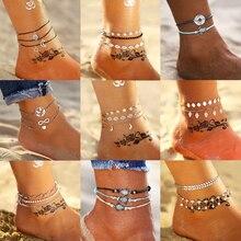17 км Модный богемный DIY Серебряный ножной браслет набор для женщин новые золотые листья карта ножные браслеты браслет на ногу на босую ногу ювелирные изделия