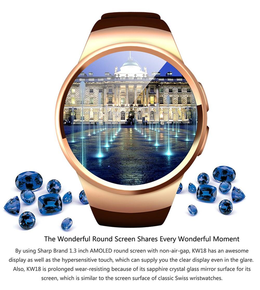 2016 New Product KW18 Smart Watch Android IOS Digital watch Bluetooth Reloj Inteligente SIM Round Heart Rate Monitor Watch Clock29