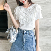 Summer Korean Short Sleeve White T shirt Lace Beading Fashion Top Woman O neck Casual Kawaii Tee Tops Dames Tshirt Korte Mouw