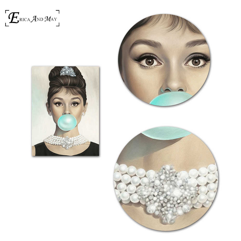 Audrey Hepburn Bubble Gum Quote Canvas Painting Posters And Prints For B oom No Framed Wall Art Picture Home Decor