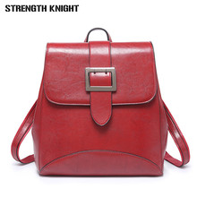 купить Women Leather Backpack Female Teenage Girls School Backpacks Vintage Multifunction Mochila Solid Shoulder Bag Travel bags дешево