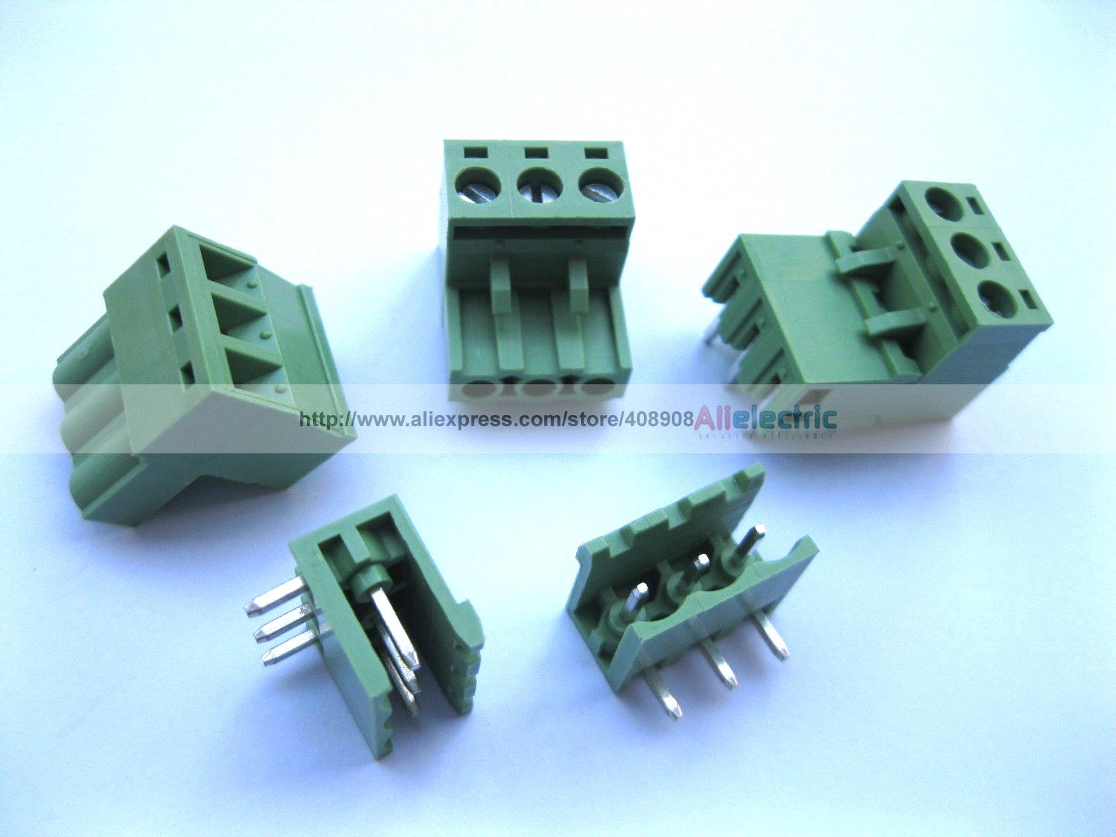 цена на 50 Pcs 5.08mm Angle 3 Pin Screw Terminal Block Connector Pluggable Type Green