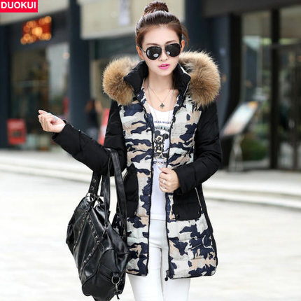 ФОТО New Fashion 2015 Women Winter Casual Coats Camouflage Long Winter Coat Women Down Jacket Female Hooded Parkas and Coats H4613