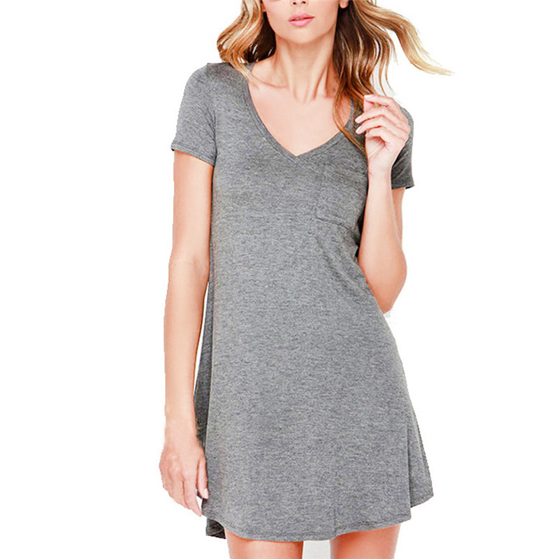 snowshine YLI Women Loose Pullover Solid Dress Short Sleeve V-Neck Casual Mini Dress free shipping