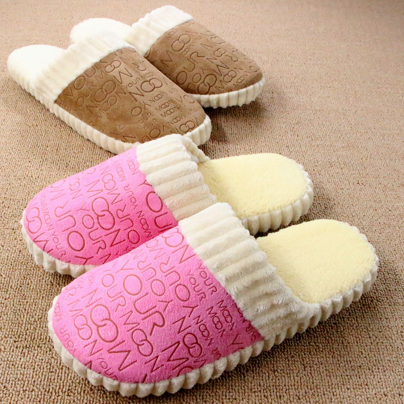 Sweet warm plush home slippers winter cute heart patterns classy soft