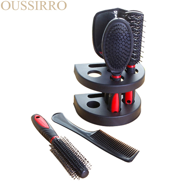 5pcs Professional Hair Salon Hair Comb And Mirror Kits Salon Barber Comb Brushes Anti-static Hairbrush Hair Care Styling