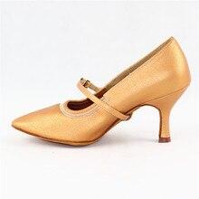 Lady Standard Dance Shoe BD 125 Flared Heel Pigskin Leather Women Ballroom Dance Shoe High Heel  Dancesport Dance Soft Sole