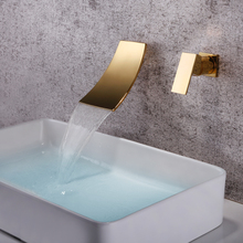 SKOWLL Wall Mounted Waterfall Faucet Gold Mixer Tap Bathroom Single Handle Bathroom Sink стоимость