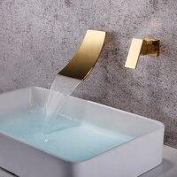 SKOWLL Wall Mounted Waterfall Faucet Gold Mixer Tap Bathroom Single Handle Bathroom Sink