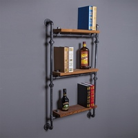Find Joy Wood Industrial Pipe Wall Shelves Vintage Hanging Organizer 3 Layers Home Decoration Storage Holders