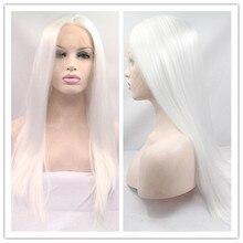 Envío Libre de Calidad Superior Resistente Al Calor Sintético Celebridad Peluca blanca recta de seda del frente del cordón Sintético peluca Para Mujer Blanca